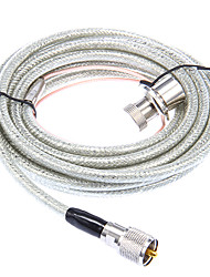 Huahong RC-5m UHF Cable para Walkie Talkie - Transparente + plata (5 M longitud)