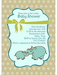 Personalized Hippo Baby Shower Cards - Set of 12