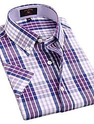 Casual Blanc Violet Couvertures de U-hommes de requin Vérifie 100% coton T-shirt manches courtes Blouse Top EOZY DSX-007