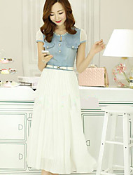 Sexylady Women's Fashion Short Sleeve Contrast Denim Chiffon Dress