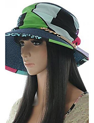 High-Grade Ladies Grass Splice Chain Straw Hat Sun Hat Sunscreen Cap Beach Hat Random Color