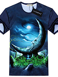GEXY Men'S European And American 3D Stereo Wild Moon Prints T-Shirt