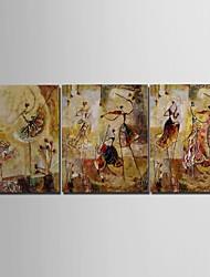 Handgemaltes Ölgemälde Personen Mädchen Spielen Der Violine mit gestreckten Rahmen 3-er Set