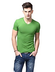 V-Neck T-shirt Eté T-shirts Support de U-Shark Men Pure Couleur Green Grass EOZY