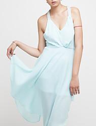 Halter perlas vestido de las mujeres Mblu Sexy V cuello largo (azul claro)