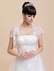 Wedding  Wraps Shrugs Short Sleeve Lace Ivory Wedding / Party/Evening Open Front