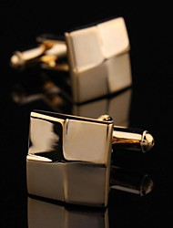 Fashionable Men's Gold Copper Square Cufflink (Gold)(1pair)