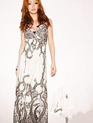женская v шейный ремешок богемный макси платье