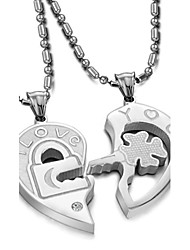 Love Is The Eternal Titanium Steel Key Puzzle Couples Diamond Necklace(2PC)