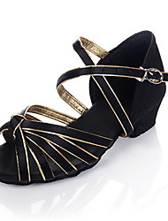 "Women's Kids' Latin Ballroom Satin Leatherette Heel Chunky Heel Black and Gold 1"" - 1 3/4"" Non Customizable"