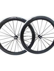12K brillant 700C 60mm de carbone de roues enclume avec la surface de frein en alliage