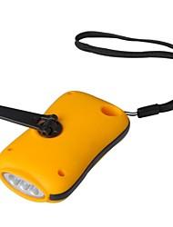 Outdoor Portátil 3-LED Dynamo Lanterna - Laranja + Preto