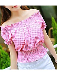 Women's Plaid Red Blouse , Off Shoulder Short Sleeve Ruched
