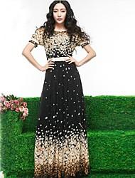Women Short Sleeve Chiffon-langes Kleid