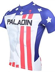 PALADIN Cycling Tops / Jerseys Men's Bike Breathable / Ultraviolet Resistant / Quick Dry Short Sleeve 100% Polyester StripeWhite / Red /