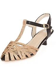 Espumante de Glitter Mulheres salto baixo sapatos de salto Belt Buckle Bombas / Sandals brilhante flash