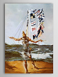 Hand Painted Oil Painting People Superman Landing on The Island with Stretched Frame