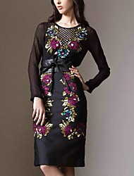 Fleur Reproduction des femmes Slim soie souple habillée à manches longues