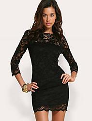 Cuello redondo de encaje Base media manga de la envoltura del vestido de las mujeres descalzas