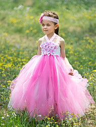 Ball Gown Floor-length Flower Girl Dress - Silk / Tulle Sleeveless Halter with Appliques