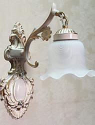 Luz de la pared, 1 luz, Pintura clásica Vidrio Metal