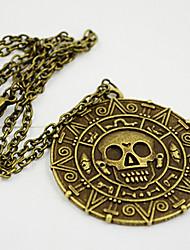 shixin® doce (redondo) colar de pingente de liga de ouro (bronze, ouro) (1 pc)