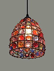 Pendant Lights Colorful Glass Iron Frame Mediterranean Style Hand-Knitted In Nepal 220V