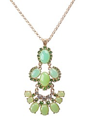 JANE STONE Spring Green Gold Chain Crystal Bib Statement Necklace