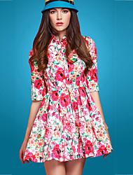 Gola de impressão floral das Twinsix Mulheres Vestido