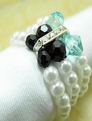 Perla di cristallo tovagliolo anello, acrilico, perla, 4.5CM, set di 12,