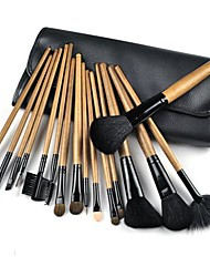 16 PCS Makeup Brushes Professional Make Up Cosmetic Brush Set Kit Brown+ Rollup Black Pouch Bag