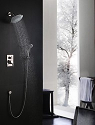 Contemporary Wall Mounted Rain Shower Handshower Included with  Ceramic Valve Single Handle Three Holes for  Nickel Brushed , Shower