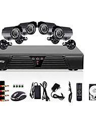 liview disco rigido ® 8ch dvr completo d1 e 4 pezzi esterni telecamere day 600tvline / notte 500gb