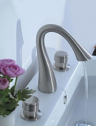 Contemporary Centerset Two Handles Three Holes in Nickel Brushed Bathroom Sink Faucet