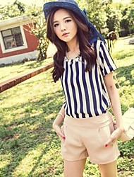 Women's Stripe Round Collar Chiffon  Blouse