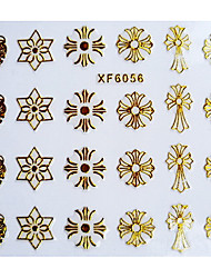 3D Classic Style Cross Design Hot Stamping Nail Art Stickers XF Series