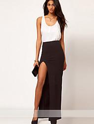 BZ Женская мода Элегантный Pure Color Открыть Вилка шифоновое платье (черный)