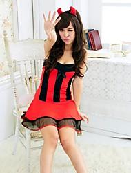 Donna Sexy Lingerie Housemaid serva della principessa Uniform Cosplay Red withBlack Trim