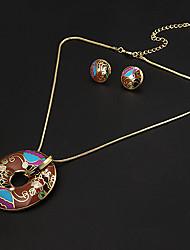plateado circular multicolor patrón irregular de época de oro (collares y aretes) sistemas de la joyería