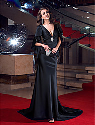TS Couture Formal Evening Dress - Sexy Open Back Elegant Celebrity Style Trumpet / Mermaid V-neck Sweep / Brush Train Stretch Satin with