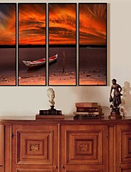The Ship In The Sunset Framed Canvas Set de 4