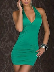 xixiangyi® sexy vestido halter algodão e elastano Mini das mulheres
