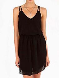 Women's V Neck/Strap Mini Dress , Chiffon Black Plus Sizes/Casual/Sexy