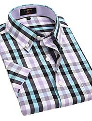 Casual Violet Bleu Noir Blanc Couvertures de U-hommes de requin Vérifie 100% coton T-shirt manches courtes Blouse Top EOZY DSX-008