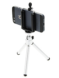 I-12-2-SL Mini Desktop Aluminum Tripod with Single-deck Two Sections (Sliver) & Mobile Phone Tripod Mount Holder