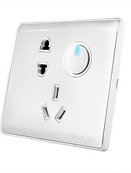 One Button Double Control Switch and Socket Panel with LED Indicator Light Switch