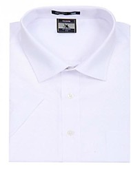 Turn-down Collar U-requin hommes d'affaires manches courtes Modal Fibre shirts blanc rayé mince Blouse Top EOZY MD-002