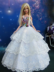 Princesse Robes Pour Poupée Barbie Blanc Robes Pour Fille de Doll Toy