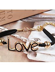 ЕМК корейский улучшения Симпатичные Любовь Weave Браслеты (черный)
