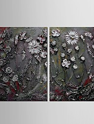 Hand Painted Oil Painting Abstract Thick Painted Flower with Stretched Frame Set of 2